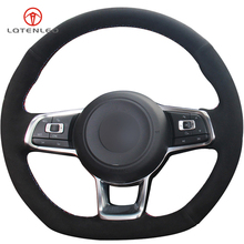 LQTENLEO Black Suede Hand-stitched Car Steering Wheel Cover for Volkswagen Golf 7 GTI Golf R MK7 VW Polo GTI Scirocco 2015 2016