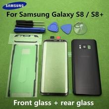 S8 ön ekran cam Lens Samsung Galaxy S8 G950 SM G950F S8 artı G955 G955F S8 + arka pil kapağı kapı arka konut + aracı