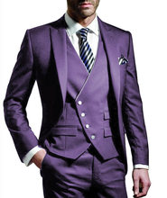 Three Pieces Men suits Notched Lable Purple Groomsuit Blazer One Button Formal Business Suits Tuxedo (Blazer+vest+Pant)(China)