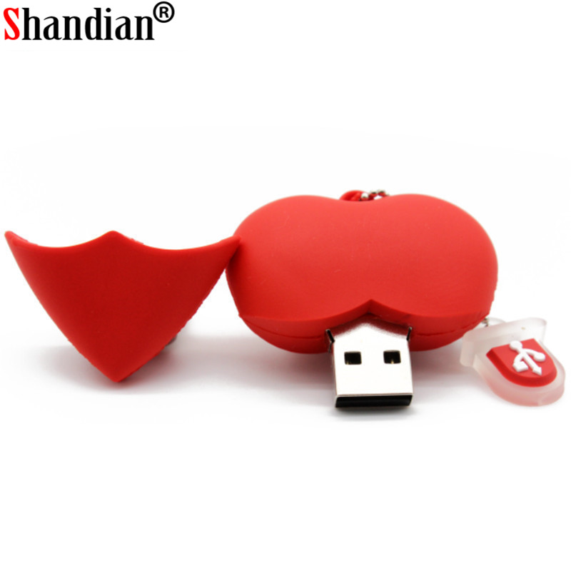 SHANDIAN Wholesale USB Stick Usb 2.0 Heart USB Flash Drive Pen Drive 4GB 8GB 16GB 32GB 64GB Memory Stick Pendrive U Disk
