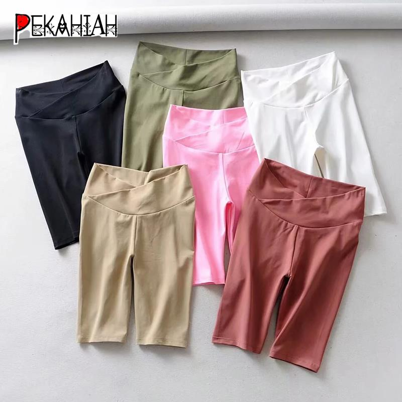 Sexy White Black Biker Shorts Women Neon Elastic High Waist Shorts Vintage Korean Fashion Streetwear Summer Short Pants Women