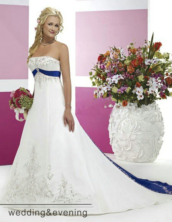 Robe De Soiree Vintage Embroidery White And Royal Blue Wedding Gown Beading 2018 Vestido De Noiva Mother Of The Bride Dresses