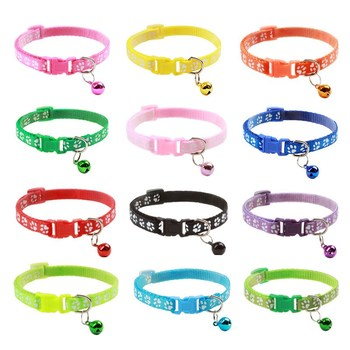 12 Color Band Cat Collar Necklace And Paw Print Adjustable Bell Positioning Pet - discount item  55% OFF Pet Products