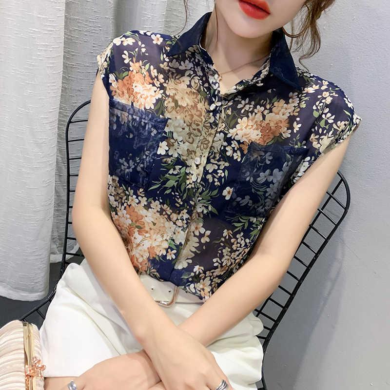 Décontracté sans manches imprimé Blouse 2020 été à fleurs en mousseline de soie chemises femmes grande taille Cardigan dames hauts Blusas Mujer 10225