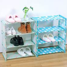 Quente diy 4 camadas oxford pano armário sapato rack flamingo urso polar design organizador(China)