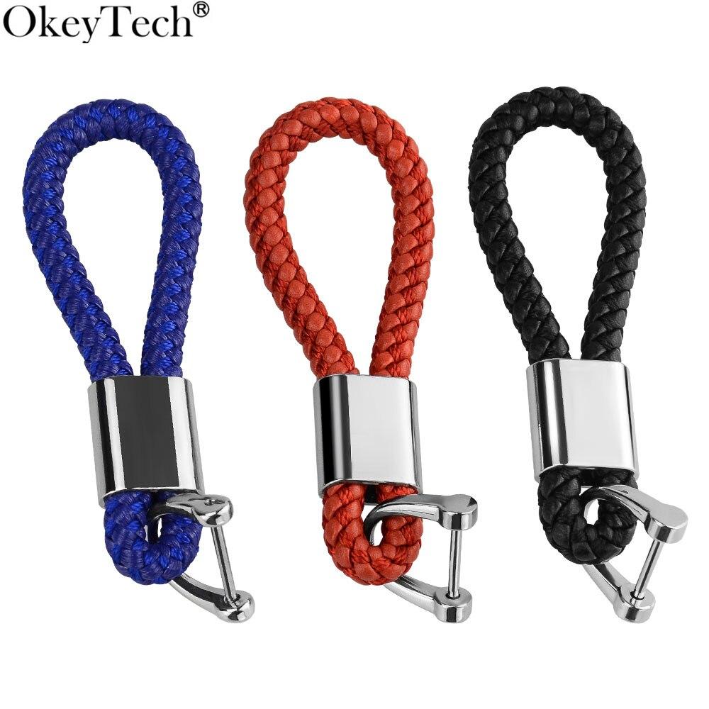 1PC Fashion PU Leather Rope Strap Braided Keyring Keychain Key Fob Gift