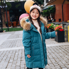 Thicken Warm Winter Down Jacket For Girls Hooded Long Teenage Girl Parka For Girls 5-14 Years Kids Outerwear Coat Children Snows children duck down jacket for boys teenager outerwear hooded girls winter coat thick kids snowsuits long parka 3 6 10 years