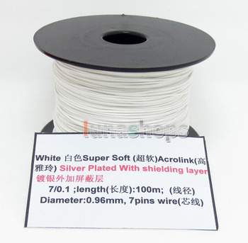 LN004493 White 100m 32AWG Acrolink Silver Plated With Shielding Layer Signal  Wire Cable 7/0.1mm2 Dia:0.96mm For DIY