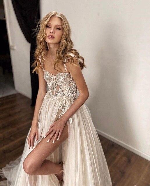 Verngo Beach Wedding Dress 2020 Sexy Spaghetti Straps Lace Applique Wedding Gowns High Side Slit Bride Dress Vestido de noiva 2
