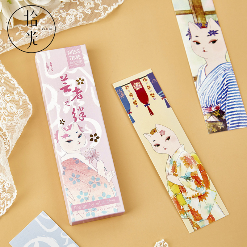 30pcs/box Kimono Cat Marque Page Bookmark Papelaria Japanese Style Teacher Supplies Book Accessories Material Escolar Gift