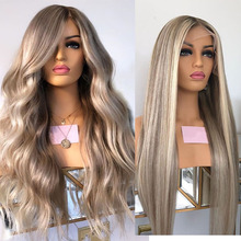 Wigs Platinum-Blonde Remy-Highlight Full-Lace-Wigs Stright Lace-Front Hairlink Pre-Plucked