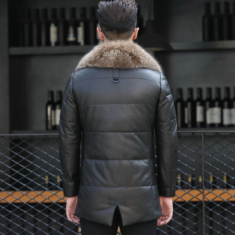 90% Duck Down Jacket Men Genuine Sheepskin Leahter Jacket Winter Jacket Men Real Raccoon Fur Collar Coat A-1550 MY762