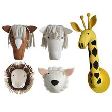 Giraffe Sheep Lion Horse Animal Head Wall-hanging Stuffed Animals Bedroom Decor Artwork Wall Hanging Photo Props For Baby(China)