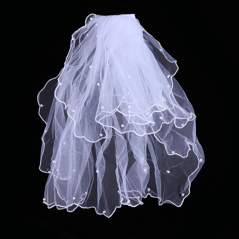 Flower Kids Girl Bridal Veils Two Layers Bead Wedding Bridal Veil Wedding Communion With Comb For Bride Wedding Accessories