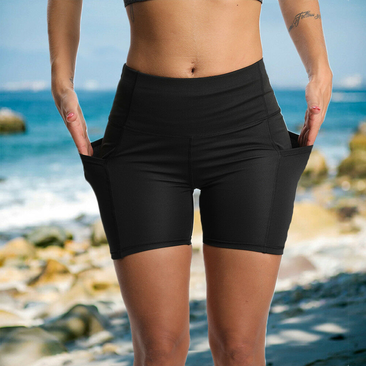 Women's High Waist Sports Short Workout Running Fitness Leggings Female Shorts Gym Leggings With Side Pocket