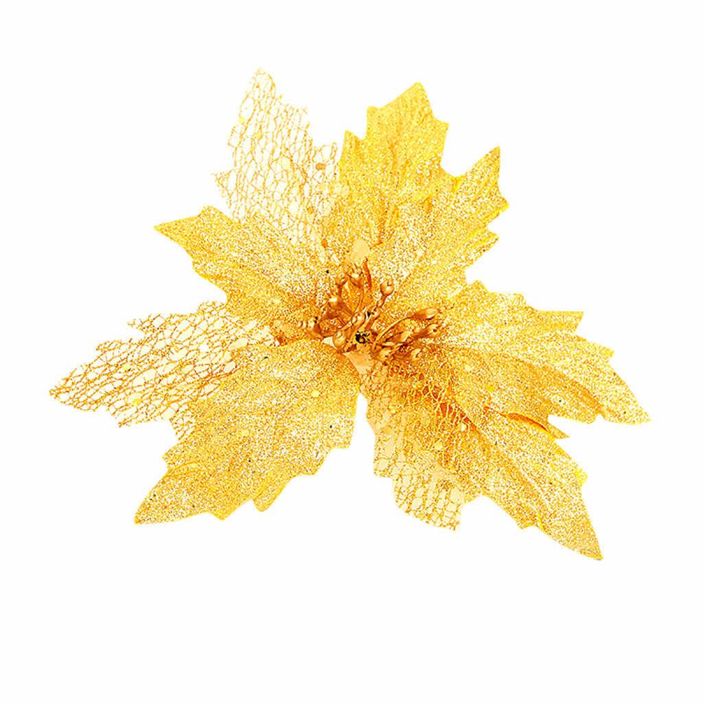 Pohon Natal Dekorasi Hollow Emas Glitter Payet Simulasi Ornamen Menggantung Liontin Merry Natal Bunga Pernak-pernik Liontin