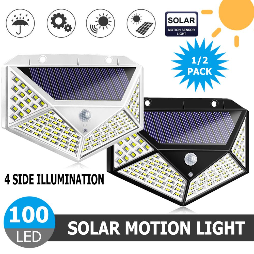 100LEDs Solar LED Wall Light Lamp Four-Sided Illumination Motion Sensor IP65 Outdoor Garden Path Alley Street Night Lighting