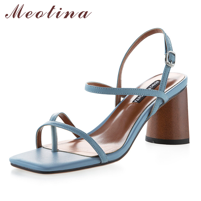 Meotina Summer Sandals Women Shoes Natural Genuine Leather Strange Style High Heel Shoes Cow Leather Buckle Sandals Ladies 34-39