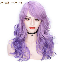 AISI HAIR 22'' Synthetic Wigs with Bangs Long Wavy Purple Pink Hair Mix Color Women Wigs Heat Resistant Hair Grey Cosplay Wig(China)