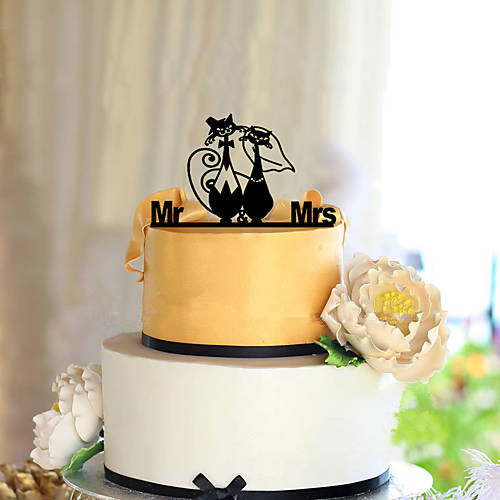 <font><b>Cats</b></font> Couple <font><b>Black</b></font> Acrylic Wedding <font><b>Cake</b></font> <font><b>Topper</b></font> <font><b>Cake</b></font> Decorating wedding deocration image