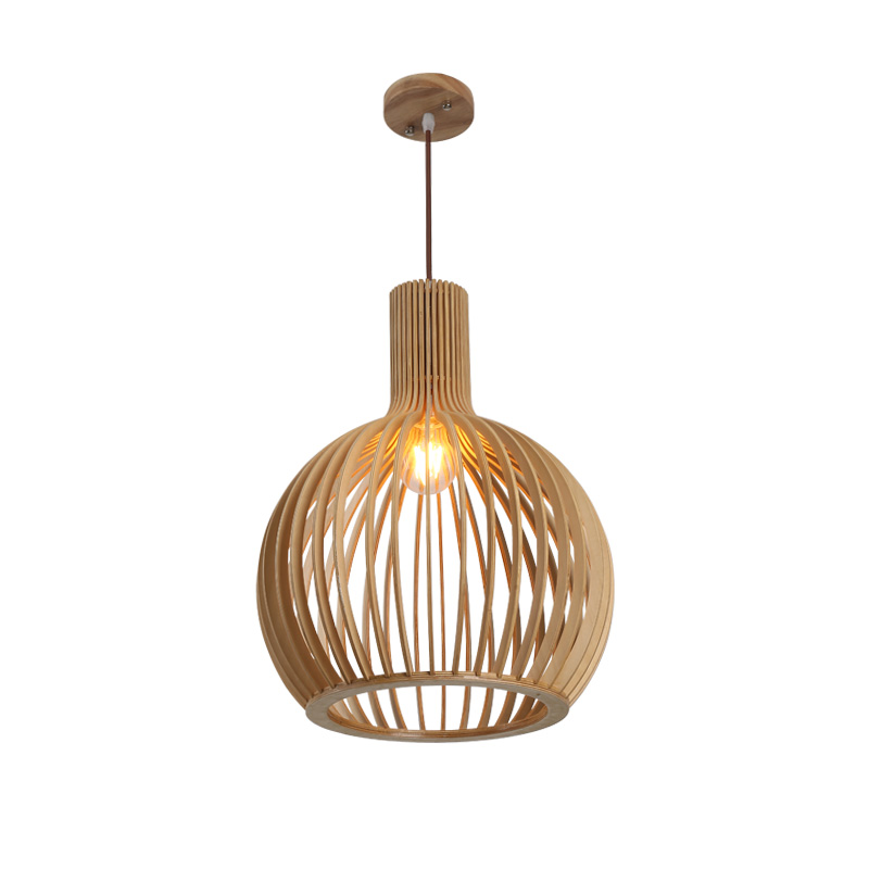 Nordic Modern Wooden Birdcage Chandelier   E27 Bulb For Restaurant Bar Bamboo Chandelier Japanese Style Art Creative Wood Lamps