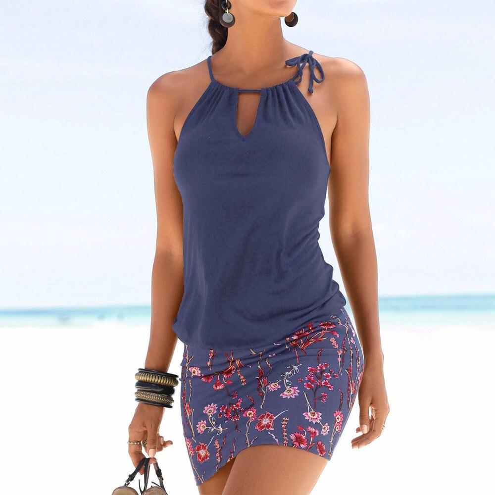 NEDEINS модное женское летнее платье, сексуальные платья без рукавов с принтом, женское мини облегающее платье, повседневное пляжное платье с к...