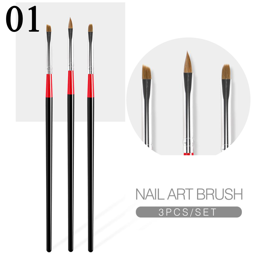 New Wholesale 3Pcs/Set Nail Art Brush Builder Painting Drawing Carving Pen UV Gel Manicure Tool Acrylic Brush