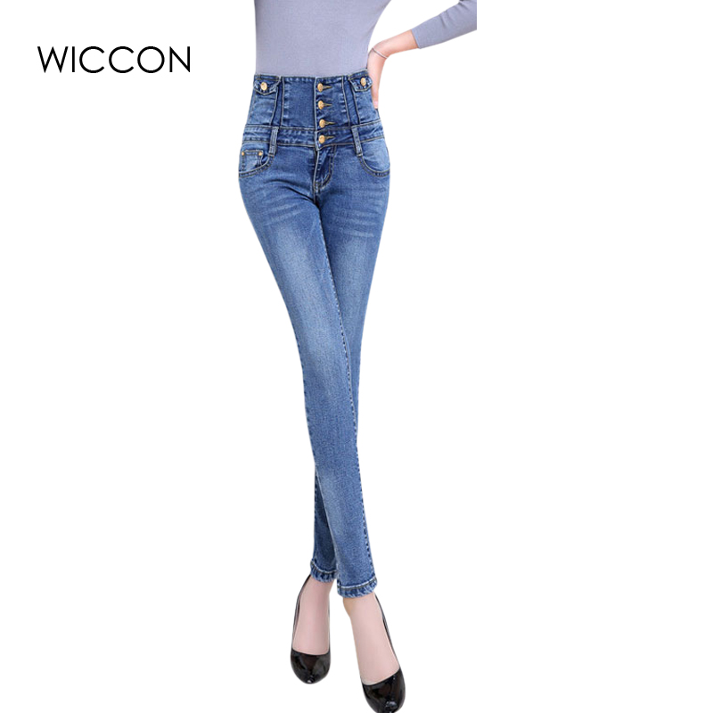 WICCON Fashion Women Elastic High Waist Jeans Skinny Stretch Jeans Female Casual Spring Summer Denim Pencil Pants Women Jeans
