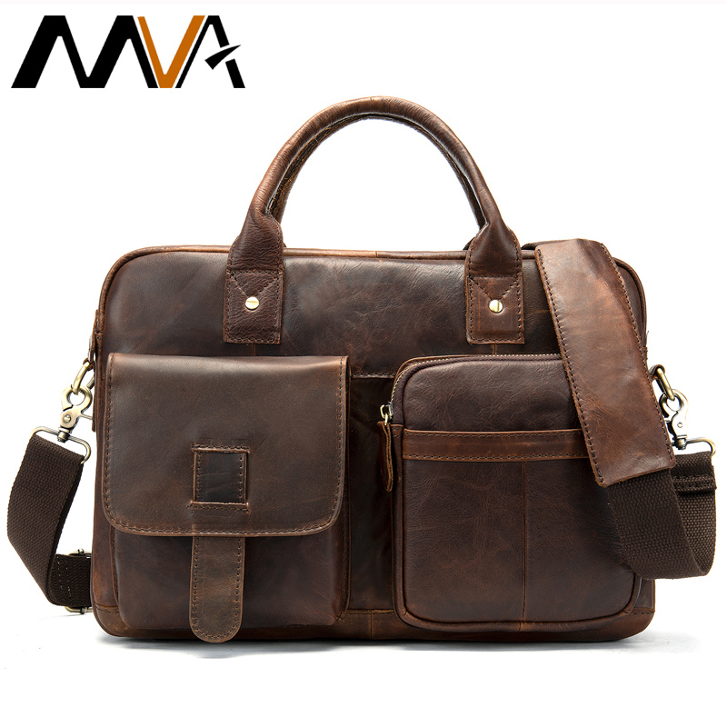 Mva Briefcase Men's Genuine Leather Bags For Men Computer Portfolio For Documents Business Briefcases Leather Laptop Bag 14inch