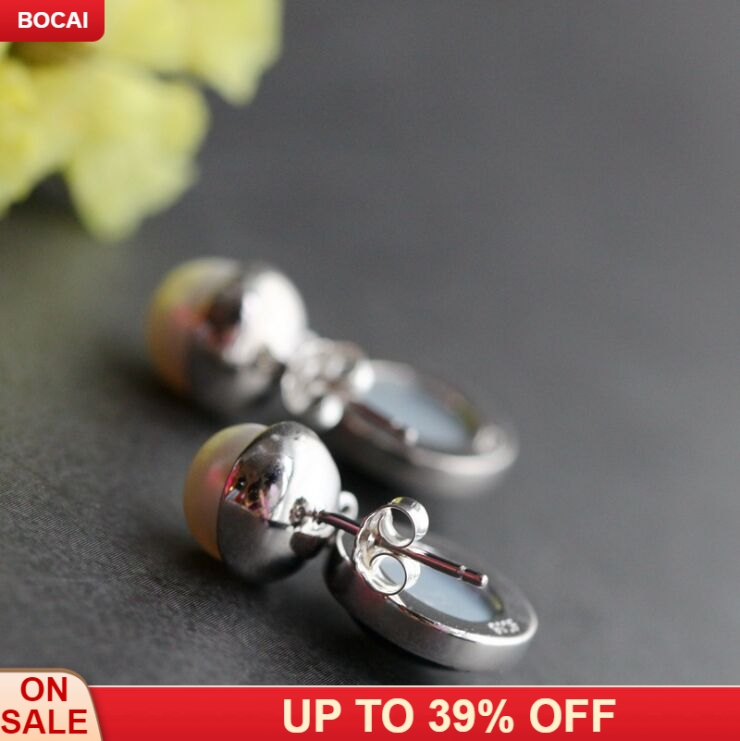 925 pure silver with natural black shell earrings stylish round tassels pearl silver earrings for Women in Drop Earrings from Jewelry Accessories