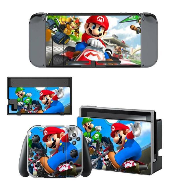 Mario kart Nintendoswitch peau nintention interrupteur autocollants décalcomanie pour Nintendo Switch Console Joy con contrôleur Dock peaux vinyle