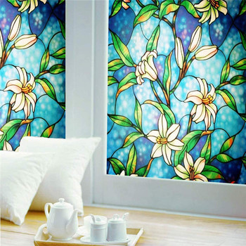 LUCKYYJ Stained Glass Privacy Frosted Window Film ,For home Static electricity Self-adhesive UV and heat resistance