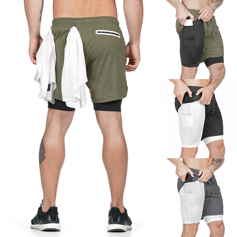 Hot Men Sport Shorts Quick Dry With Built-in Pocket Lining For Summer Running Jogging CGU 88