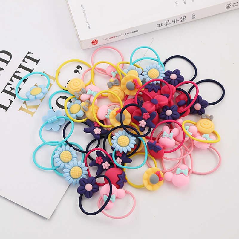 12pcs Girls Hair Accessories Cartoon Elastic Headwear Kids Hair Bands Decoration