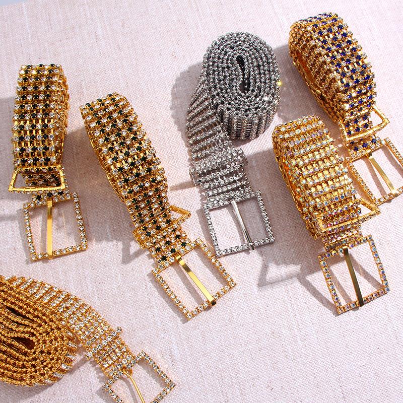 Womens Full Rhinestone Luxury Waistband Bridal Sash Belt Shiny Metal Waist Chain