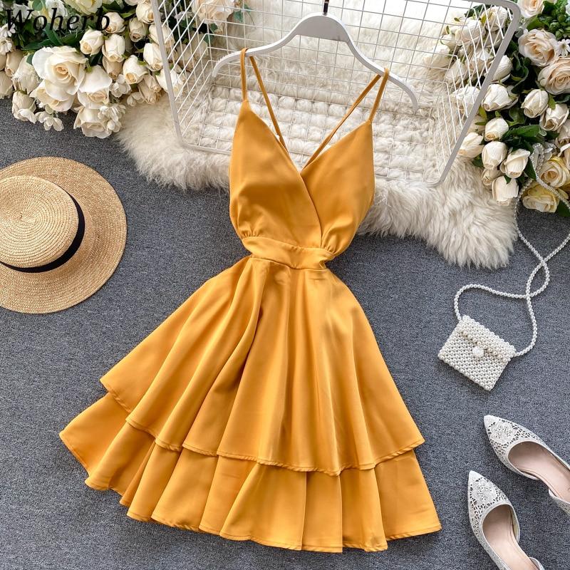 Woherb Summer 2020 Women Dress Chic Camis Vestidos Vintage V-Neck Sexy Backless Slim Waist Ruffle Beach Dresses 25682