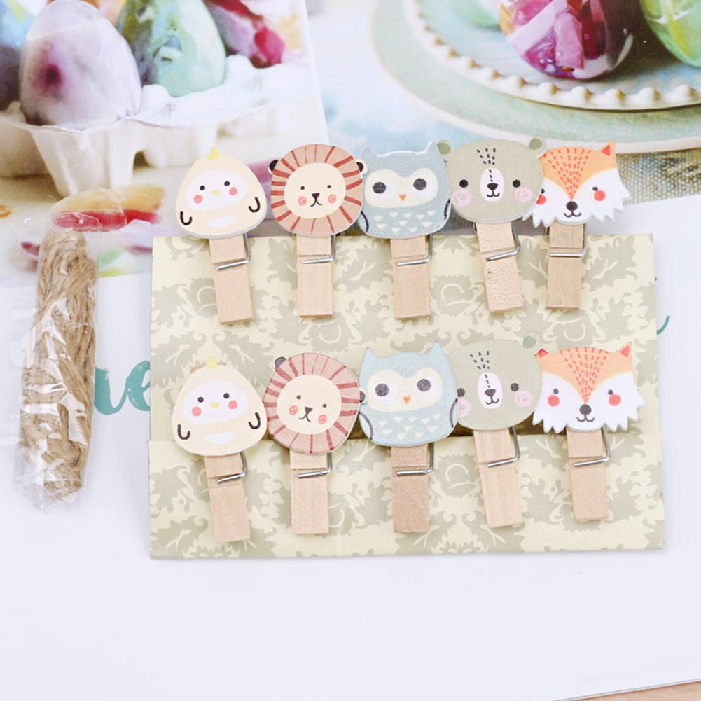 10pcs File Photo Clip Owl Office Paper Snacks Note Mini Binding Craft DIY Wooden Storage School Cartoon Animal Supplies