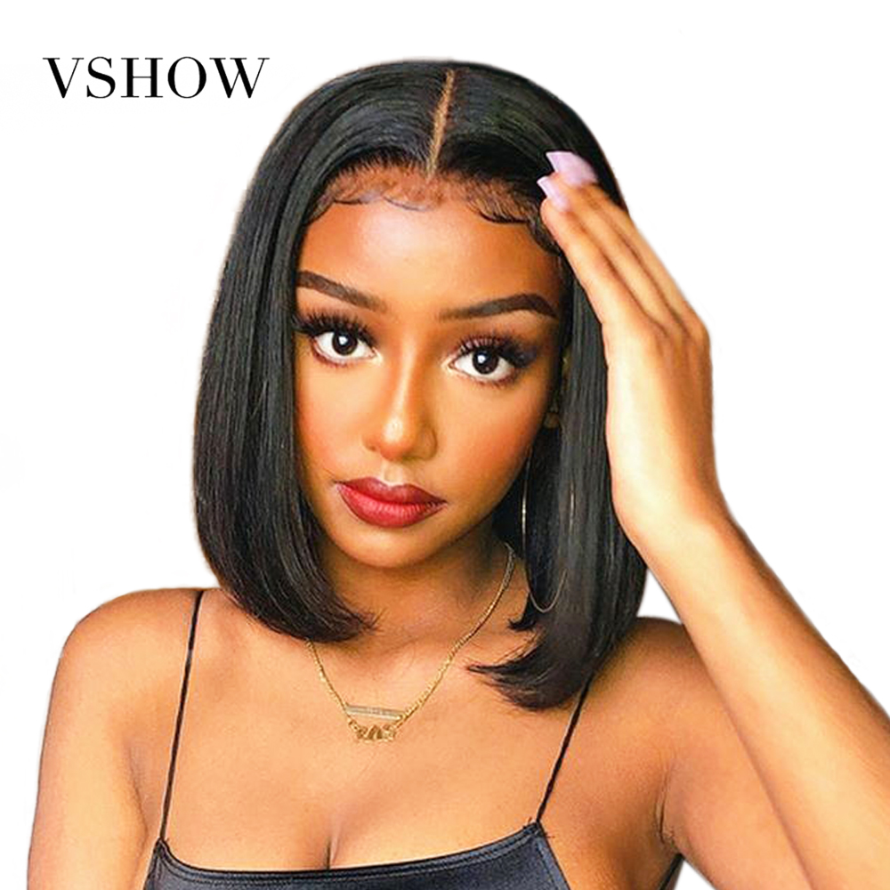 VSHOW 13x4 Bob Straight Lace Front Wigs 150% Remy Human Hair Wigs Pre-plucked Transparent Short Lace Front Wigs For Women