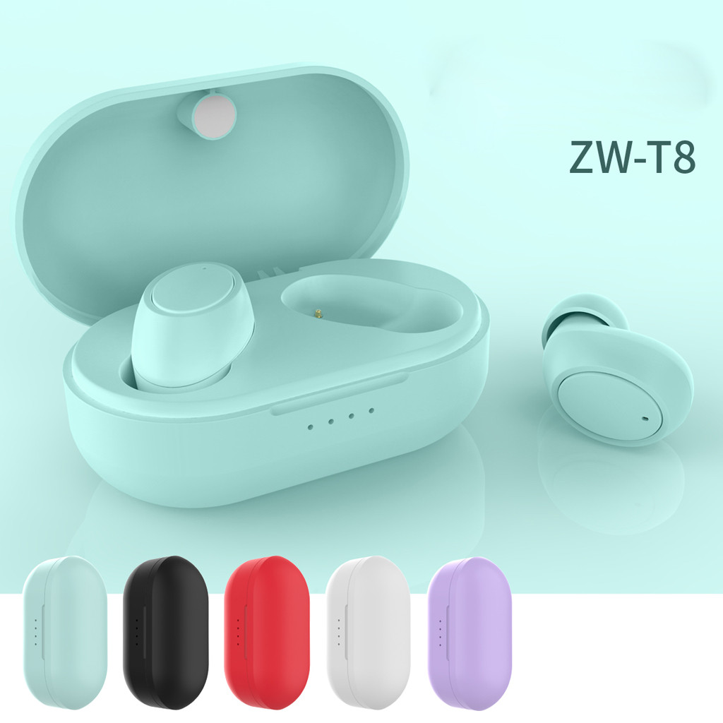 <font><b>T8</b></font> <font><b>TWS</b></font> Wireless Mini Bluetooth Earphone Sport Ear Phone Portable Charging Box Earphone 5.0 Touch Control Earbuds 9D Stereo image