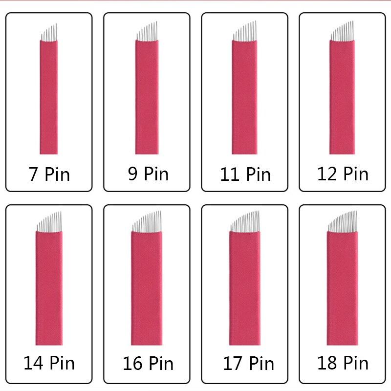 500pcs/Lot 9 11 12 14 16 18 Pins U Shape Lamina Nano Blade Premium 0.25mm Permanent Makeup Microblading Needles For Tobori Pen