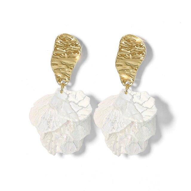 AENSOA Korean White Shell Crack Flower Petal Drop Earrings For Women 2020 New Cute Sweet Irregular.jpg 640x640 - White Shell Crack Flower Petal Drop Earrings