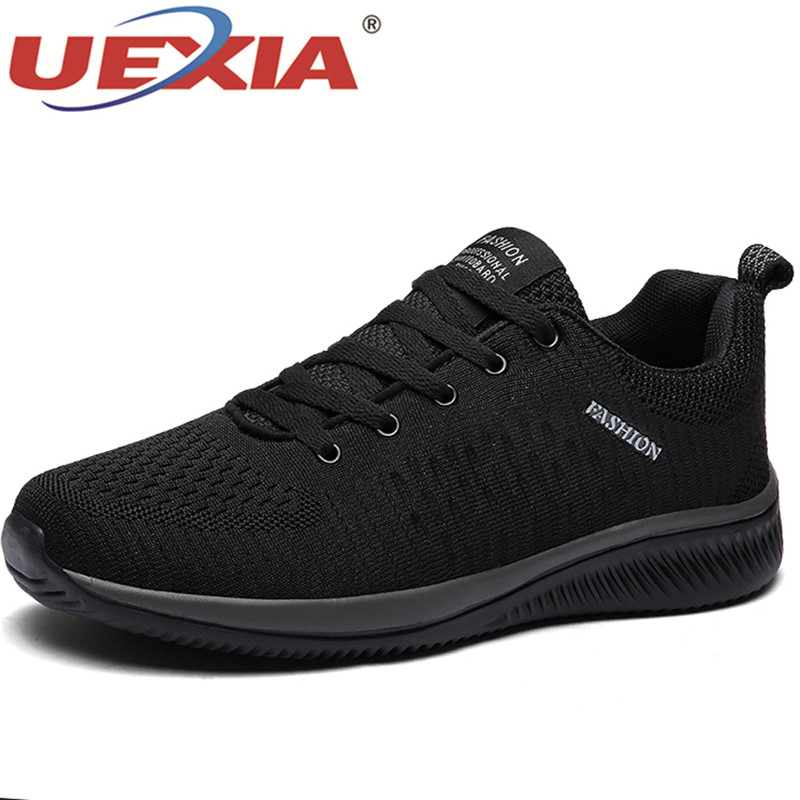 UEXIA 2020 <font><b>Men</b></font> Casual <font><b>Shoes</b></font> Walking Breathable No-slip Male Mesh Lace Up Wear-resistant Outdoor Sneakers Footwear lightweight image