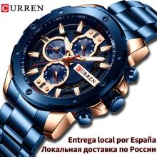 CURREN الفاخرة الكوارتز ساعة اليد الرجال الرياضة الساعات 8336 الفولاذ سوار فولاذي كرونوغراف ساعة الذكور للماء