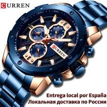 Curren 럭셔리 쿼츠 손목 시계 남성 스포츠 시계 8336 스테인레스 스틸 밴드 크로노 그래프 시계 남성 방수