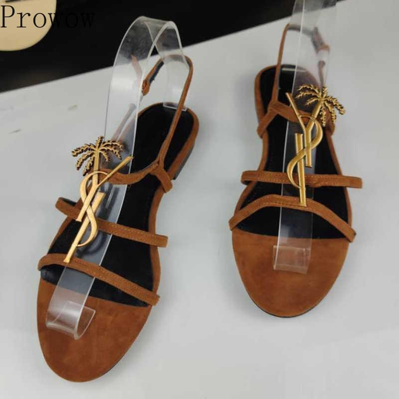 Сандалии женские из натуральной кожи с круглым носком, Классические брендовые босоножки на плоской подошве, с металлическим логотипом, размеры 34-43