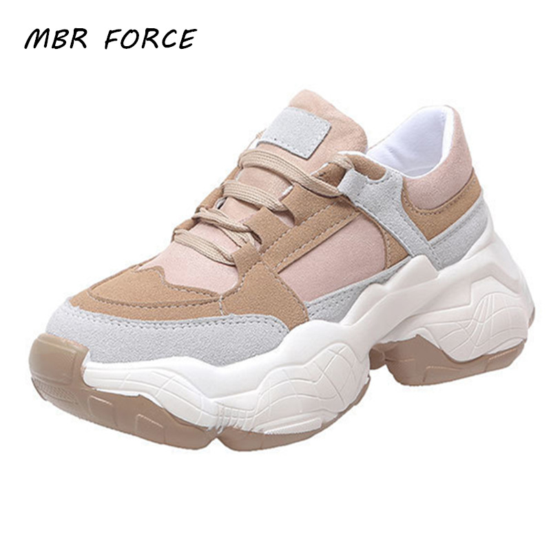 MBR FORCE  Women Sneakers Breathable Shoes 2019 Spring New Flat Platform Shoes Girl Thick Bottom Outdoor Ladies Shoes