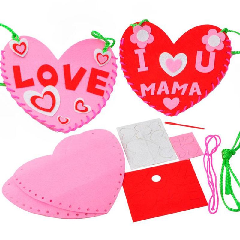Handmade DIY Children Non-woven Heart Backpack Kindergarten Handmade Sewing Backpack For Making Material Box