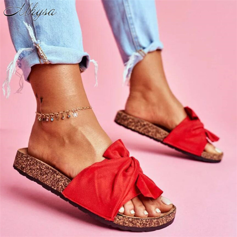 2020 Shoes Woman Slippers For Women Beach Shoes Bow Slip On Beach Sandals Women Summer Footwear Flat Slippers Female Plus Size