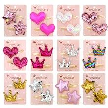 15 цветов заколочки для волос Блестящая Корона Пентаграмма сердце форма принцесса зажим для волос маленькая звезда милые головные уборы аксессуары оптом