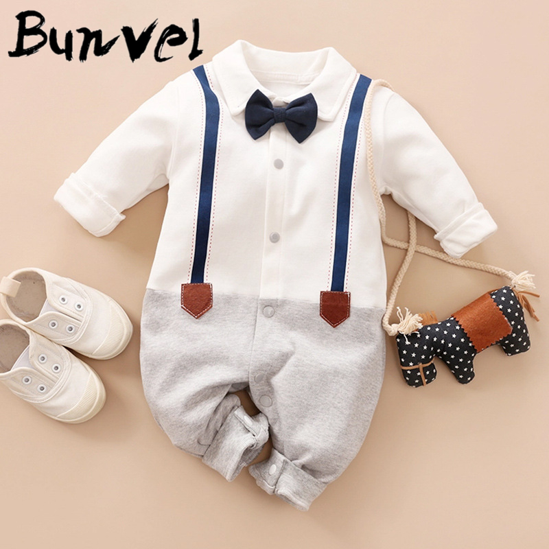 Bunvel Summer Baby Infant Rompers Patchwork Baby Girl Clothes White Necktie Baby Spring Clothes Boys Rompers Kids Costume